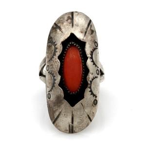Navajo Sterling Silver & Coral Shadowbox Ring