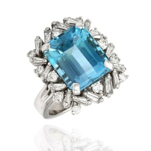14KW Blue Topaz and Diamond Ring