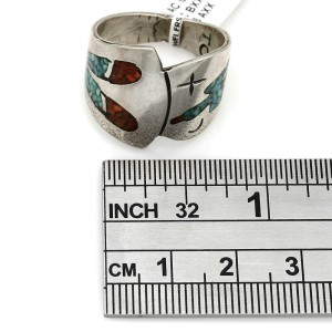 Navajo Tommy Singer Sterling Silver Turquoise & Coral Chip Inlay Ring