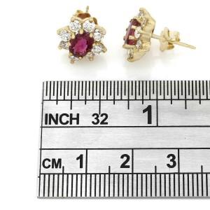 18KY Ruby and Diamond Halo Earrings