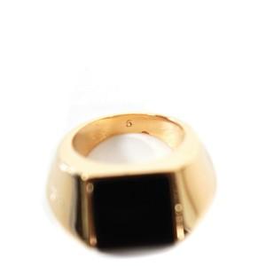 Saint Laurent - Ring - Mens - Gold & Black - Square Stone