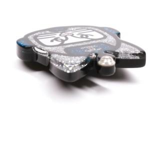 Chanel - 2017 Emoji Monogram Cat Brooch Pin - Silver Blue Glitter Robot CC 17S