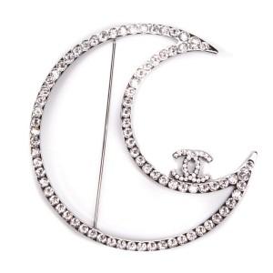 Chanel - New - 2017 Jumbo CC Moon Brooch Pin - Silver Crystal Monogram 17K