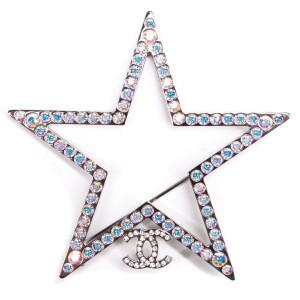 Chanel - New - 2017 Jumbo Star CC Brooch Pin - Silver Blue Crystal Monogram 17K