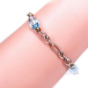 David Yurman - Bracelet - 14K Gold - Sterling Silver & Blue Stone Figaro