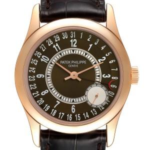 Patek Philippe Calatrava Rose Gold Brown Dial Mens Watch 6000