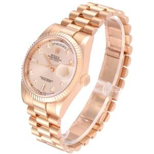 Rolex President Day Date 36 Everose Gold Diamond Watch 118235