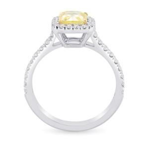 Leibish 18K White and Yellow Gold Fancy Intense Yellow Cushion Diamond Halo Ring Size 6.5