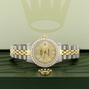 Rolex Datejust Ladies 2-Tone 18K Gold/SS 26mm Watch with Champagne Dial & Diamond Bezel