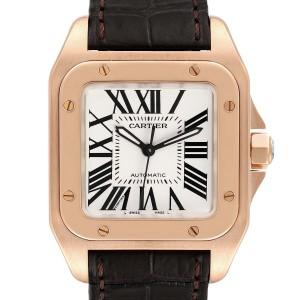 Cartier Santos 100 Midsize Rose Gold Silver Dial Mens Watch W20108Y1