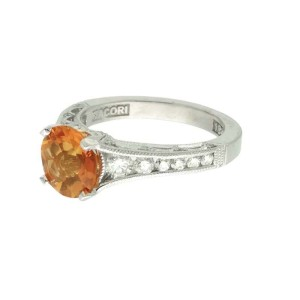 Tacor 18K White Gold Citrine .62ctw Diamond Ring Size 6.25