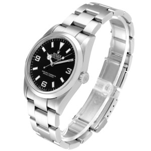 Rolex Explorer I Black Dial Stainless Steel Mens Watch 114270