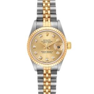 Rolex Datejust 26mm Steel Yellow Gold Diamond Ladies Watch 69173
