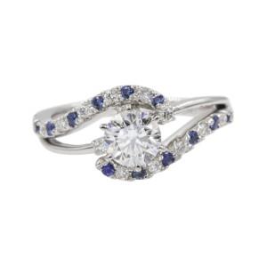 Platinum with 0.66ct Diamond & Sapphire Swirl Three Stone Engagement Ring Size 6