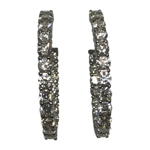 Roberto Coin 18K White Gold with 3.43ct. Diamond Hoop Earrings