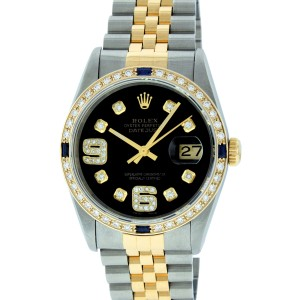Rolex Datejust 16233 Black 6&9 Diamond 36mm Mens
