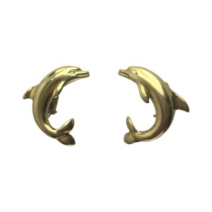 18K Yellow Gold & 0.04ct Diamond Dolphin Clip-On Earrings