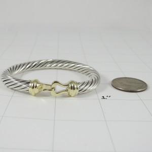 David Yurman Sterling Silver 14K Yellow Gold 7mm Thoroughbred Buckle Bracelet