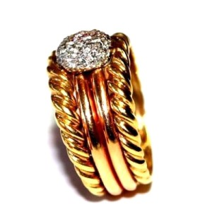 18K Yellow and Pink Gold Diamond Cocktail Ring