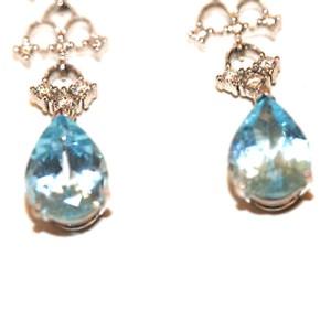 18K White Gold Diamond Blue Topaz Hanging Earrings