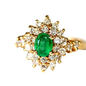 14K Yellow Gold Emerald Diamond Cluster Cocktail Ring