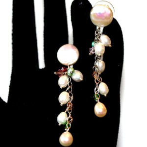 Freshwater Pearl and Silver Hanging Earrings