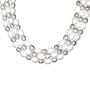 Grey and White Oval Freshwater Pearl Strand Necklace