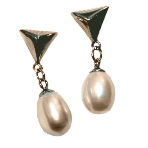 Freshwater Rice Pearl and Silver Hanging Earrings
