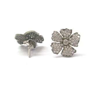 Vera Wang Titanium Diamond Flower Earrings