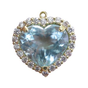 LeVian 18K Yellow Gold with 12ct Aquamarine & Diamond Pendant