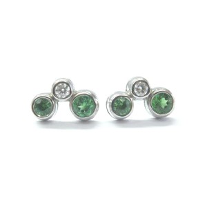 Tiffany & Co. Diamond Platinum Green Tourmaline Bubble Earrings