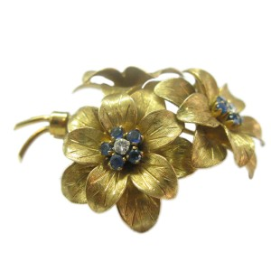 Tiffany & Co. 18K Yellow Gold 0.40ct Sapphire & Diamond Brooch