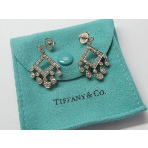 Tiffany & Co. Platinum Legacy Open Square Diamond Drop Earrings
