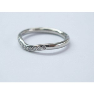 Tiffany & Co Platinum Elsa Peretti Curved Diamond Wedding Band Ring