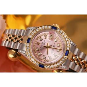 Ladies Rolex 26mm Datejust Two Tone Jubilee Pink String Diamond Dial Vintage Style Marker Bezel + Lugs + Sapphire 69173