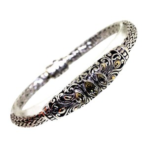 Bali Design 925 Silver & 18K Yellow Gold Lemon Citrine Filigree Bracelet