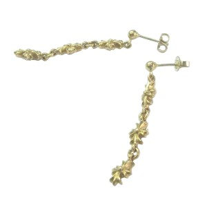 Chrome Hearts 22K Yellow Gold Cross Drop Earrings