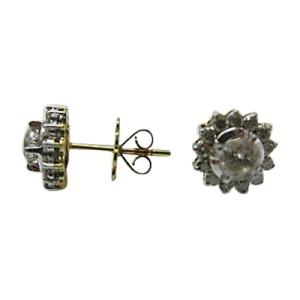14K Two Tone Gold & Diamond Flower Circular Earrings