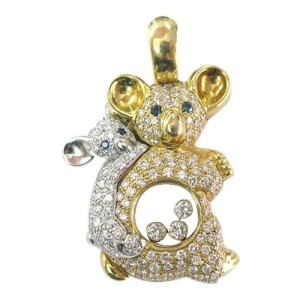 Chopard 18K Yellow Gold Diamond Sapphire Pendant