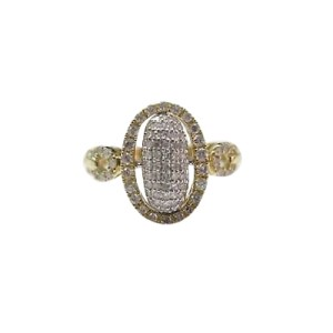14K Yellow Gold Diamond Cluster Oval Shape Ring