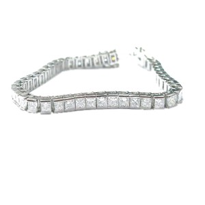 Platinum Princess Cut Diamond Tennis Bracelet