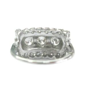 14K White Gold Round Brilliant Cut Diamond 3-Row Ring