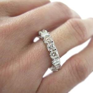 14K White Gold Asscher Cut Diamond Eternity Band Ring