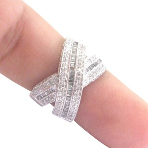 White Gold & Diamond Criss Cross Band Ring