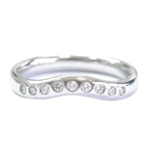 Tiffany & Co. PT950 Platinum with 0.10ct Diamond Elsa Peretti Curved Band Ring Size 6