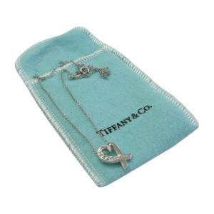 Tiffany & Co. Paloma Picasso 18K White Gold & 0.15ct Diamond Heart Necklace
