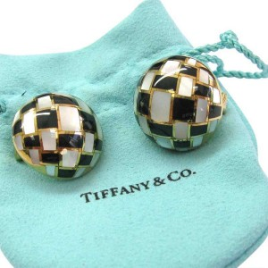 Tiffany & Co. 18K Yellow Gold Mother of Pearl & Onyx Circular Earrings