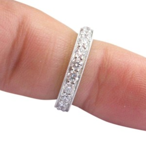 Tiffany & Co. PT950 Platinum with 1.18ctw. Diamond Band Ring Size 4.5