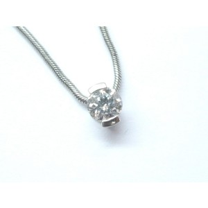 Movado Round Brilliant Diamond Solitaire Pendant Necklace.
