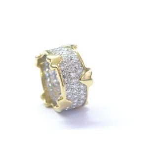 Tiffany & Co. Platinum 18K Yellow Gold Jean Schlumberger Diamond Heart Wide Band